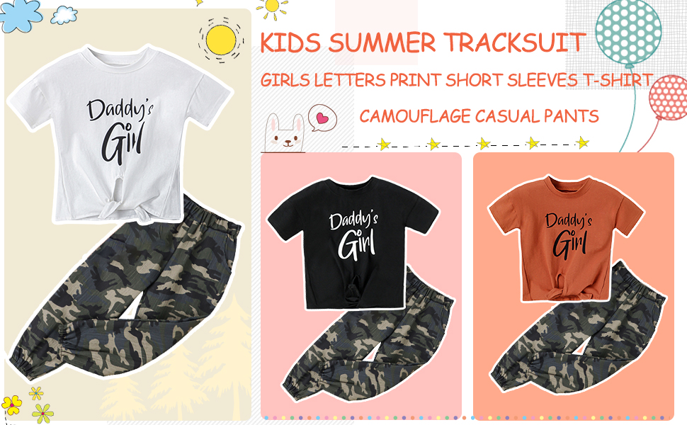 2 Pieces OutfitSummer Girls Letters Print Short T-Shirt + Camouflage Casual Pants,Clothing