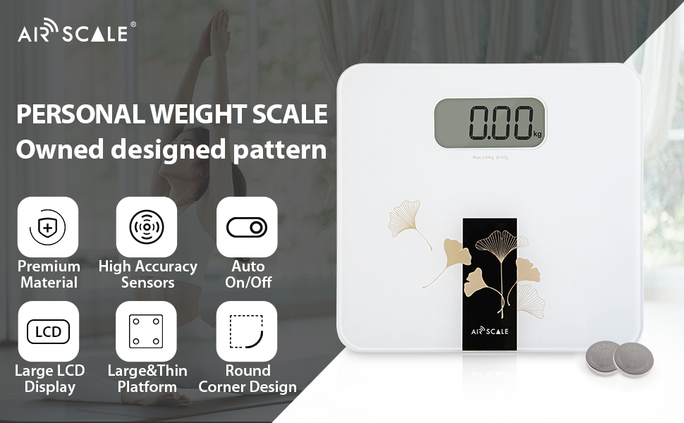 AIRSCALE Digital Large Display Electronic Bathroom Weight Scale for  charming to fit every corner