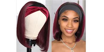 human hair bob headband wig for black women