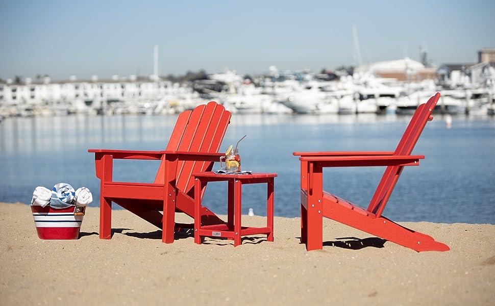 LuXeo Corona Side Table with Two Marina Adirondack Chairs