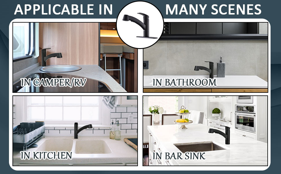APPASO Modern Kitchen Faucets With Pull-Out Sprayer Matte Black