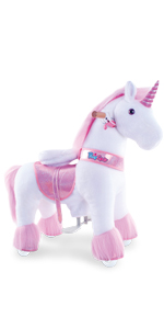 Ride on unicorn riding horse toy for kids 4-9 boys and girls