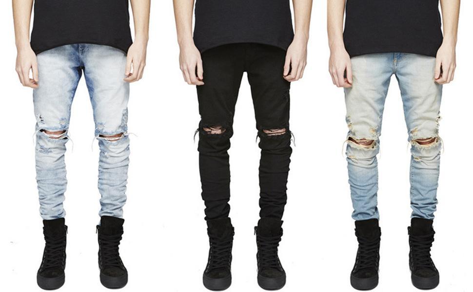 Men's Casual Slim Fit Denim Jeans Skinny Distressed Destroyed Side Striped Zipper Holes Pants Jeans