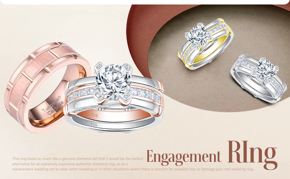 wedding ring set for women men him and her