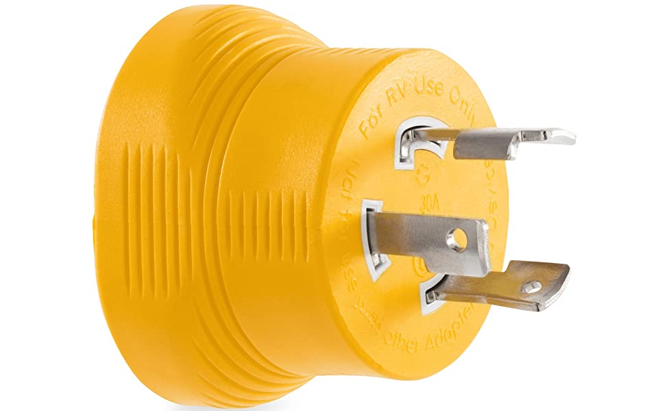 30-Amp Locking 3-Prong Male to 30-Amp Female generator adapter; Power Grip generator adapter