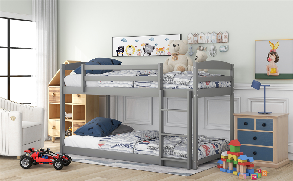 Amazon Com Merax Twin Over Twin Floor Bunk Bed With Ladder Twin Size Wooden Bunk Bed Convertible Ladder Can Be Put Left Or Rightgrey Kitchen Dining