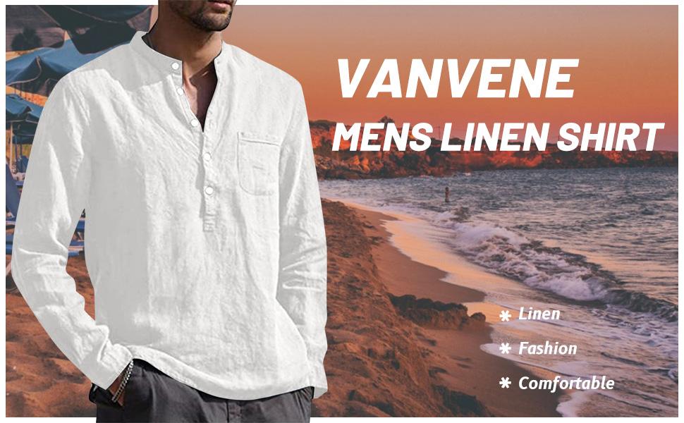 VANVENE Mens Linen Shirts