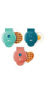 3 pack mini waffle makers, heart shaped waffle, mini waffle, mini griddle