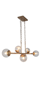 gold globe chandelier