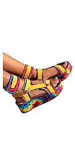 Summer Sandals for Women Rainbow Ankle Buckle Espadrille Platform