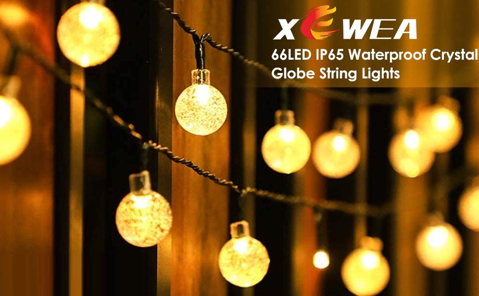 66pcs LED IP65 waterproof crystal ball outdoor decorative string lights