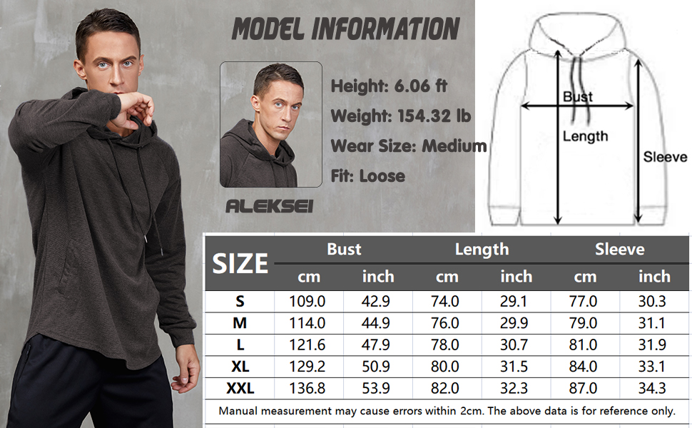 Men's Gym Workout Active Long Sleeve Pullover Lightweight Hoodie Casual Hooded Sweatshirts