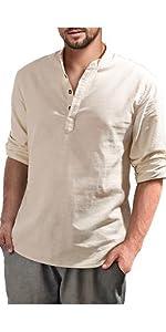 Mens Long Sleeve Henley Shirt Cotton Linen Beach Loose Fit Henleys Tops