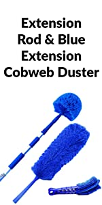 Extension Rod amp; Blue Extension Cobweb Duster Ultimate Dusting Kit