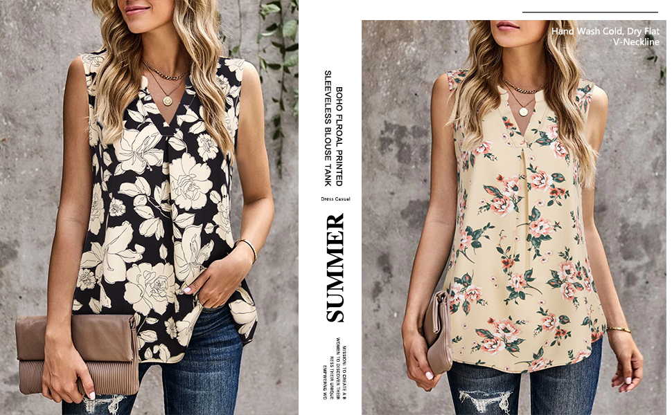 womans bohemia holiday beach  floral printed soft work tank top blouses camisole