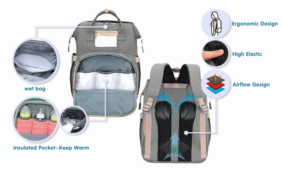 Multifunction Travel Back Pack with Baby Changing Pads, Large Capacity, Waterproof and Stylish