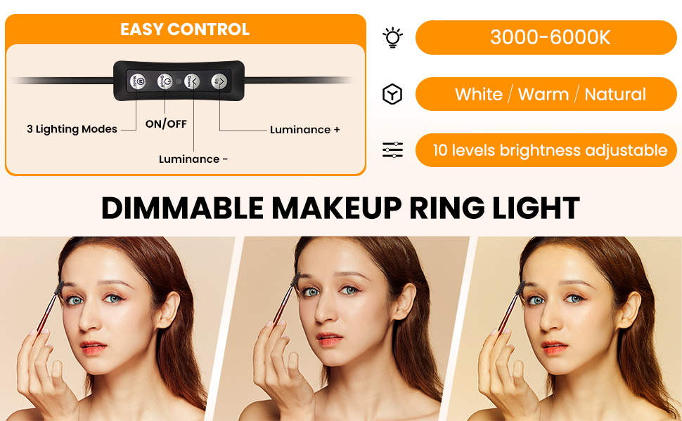 beauty ring light with stand and phone holder
