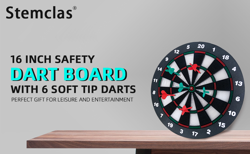 Safety dart board with six soft tip darts