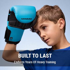 Youth Wearing Hayabusa S4 Kids Blue Boxing gloves