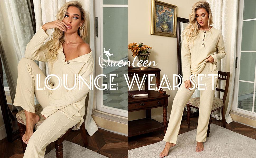 casual long sleeve pajama sets waffle 2 pieces sets lounge wear set