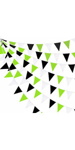 Green Black White Banner Decorations Triangle Flag Fabric Pennant Garland Bunting for Birthday