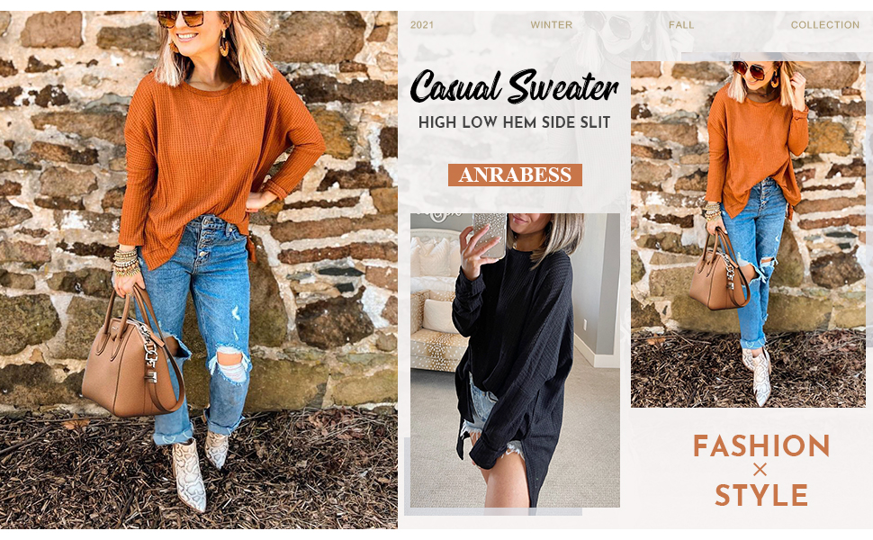 ANRABESS Women Round Neck Dolman Sleeve Casual Oversized High Low Sweater Waffle Knit Tunic Top