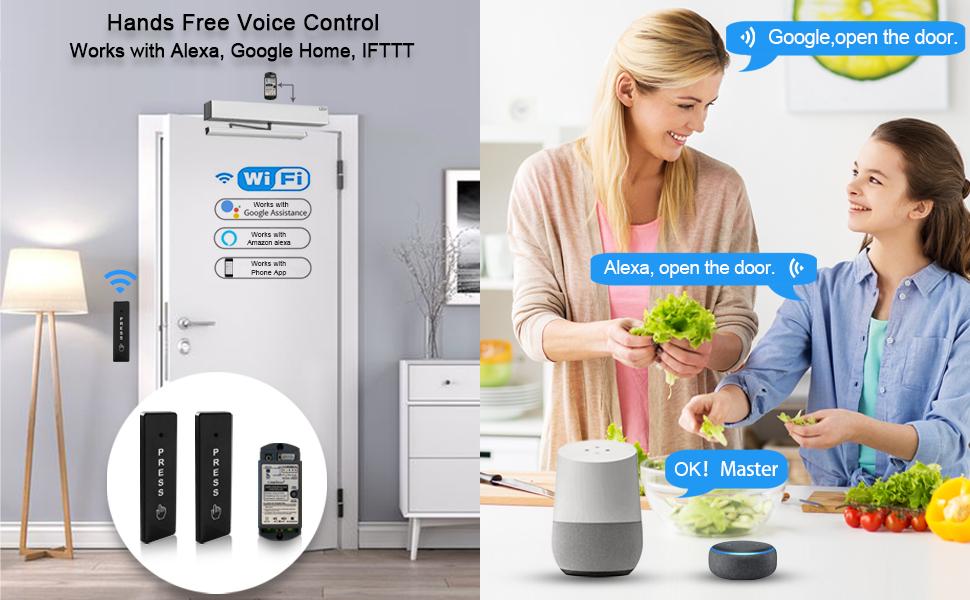 Smart WiFi APP Control Automatic Door Opener,Alexa,Google Home Voice Control auto door