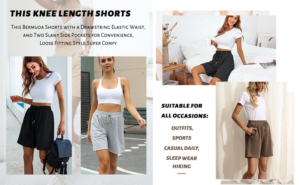 HIKING SHORTS womens active bermuda shorts with pockets running shorts lounge shorts