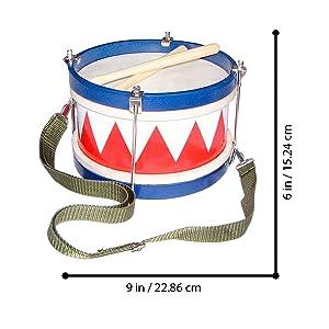 Schoenhut kids drum measurements - 6 inches by 9 inches