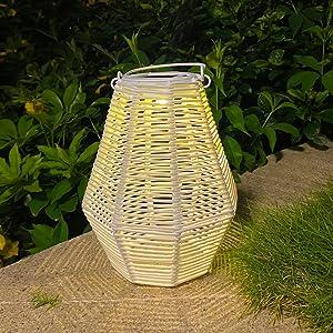 rattan solar lantern lights