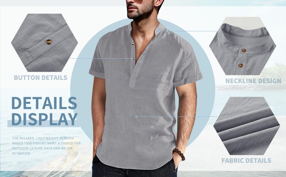 Detail - Henley Shirt Banded Collar Cotton Linen Blend Material Short Sleeve