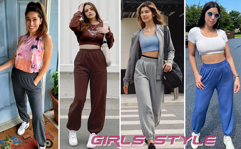 high waisted womens sweatpants with pockets for girls