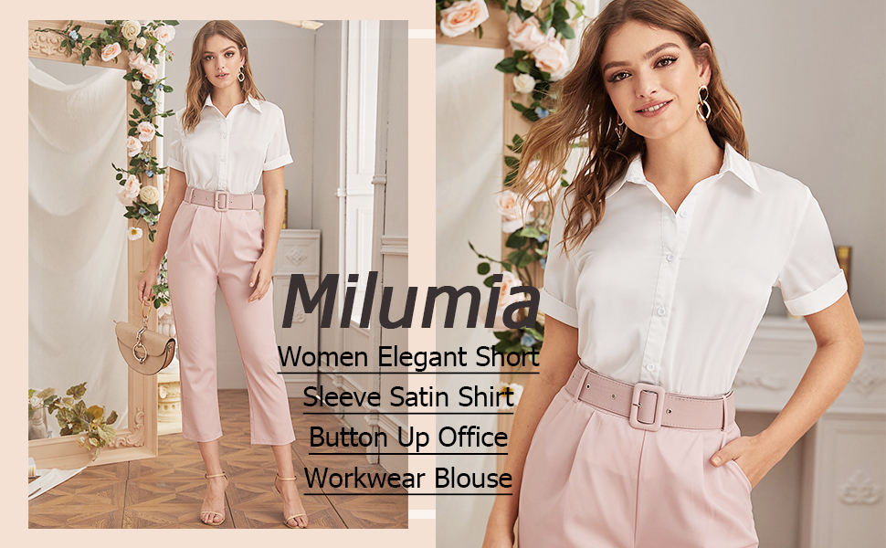 Milumia Women Elegant Short Sleeve Satin Shirt Button Up Solid Office Workwear Blouse Top