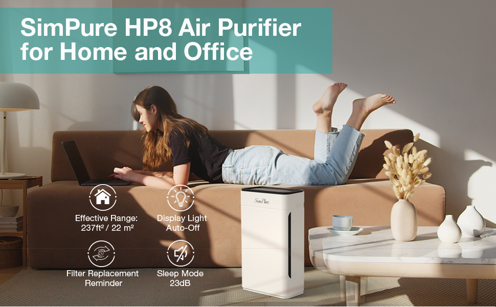 SimPure HP8 Home Floor Air Purifier Large Rooms Air Purification Cleaning Machine