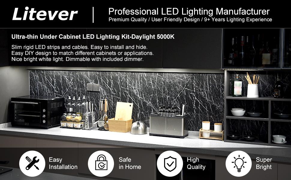 Litever 6-rigid-strip under cabinet lighting kit  612P application