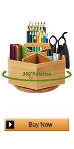 Bamboo Rotating Pen Organizer