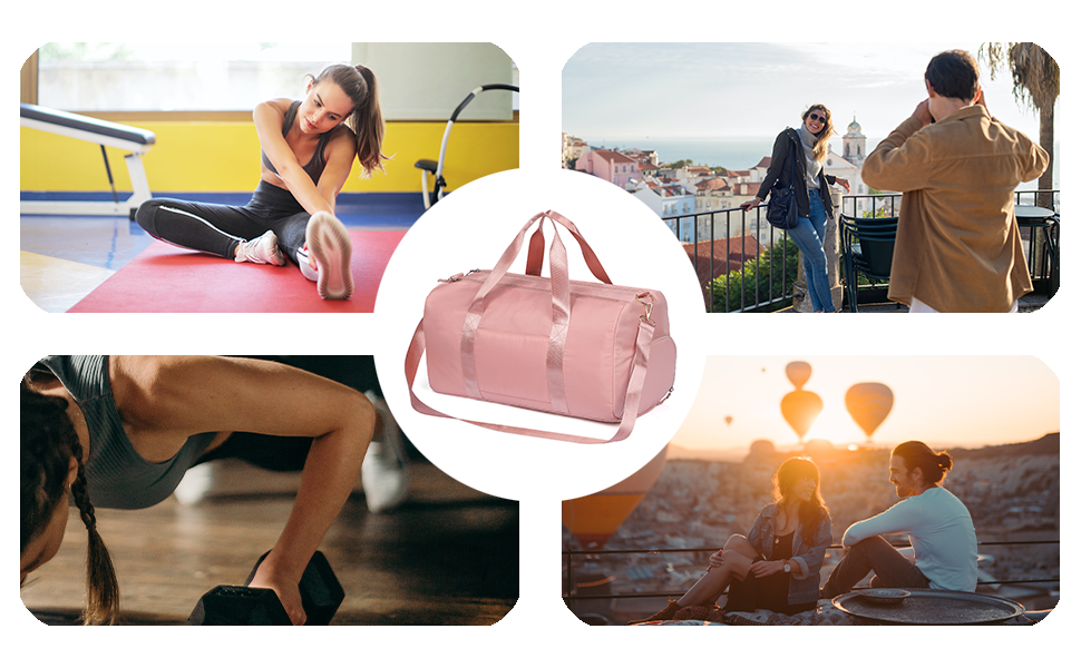 Waterproof Weekender Bags for Women, Travel Duffel Bag, Gym Bag for Women