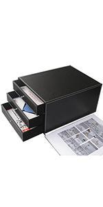 KINGFOM 3-Drawer 3-Layer Wood Structure Leather Desk Filing Cabinet File/Document Holder Organizer