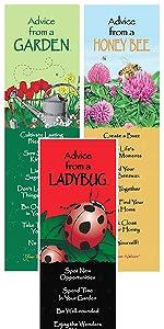 garden, honey bee, ladybug bookmarks
