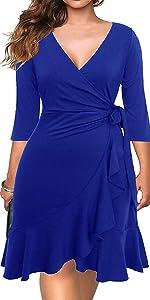 V-Neck 3/4 Sleeve Plus Size Knee-Length Sheath Ruffle Cocktail Dress