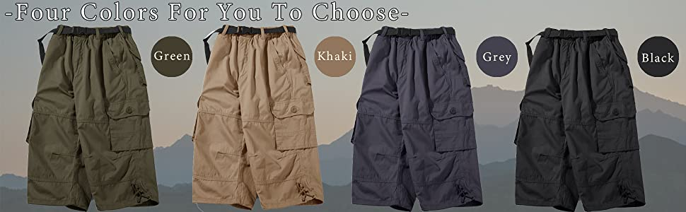 Mens Shorts Casual Below Knee Long Shorts Capri Shorts for Men Cargo Cotton 3/4 Pants for Men