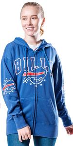 Ultra Game NFL Women's Full Zip Fleece Hoodie Sweatshirt Banner Jacket