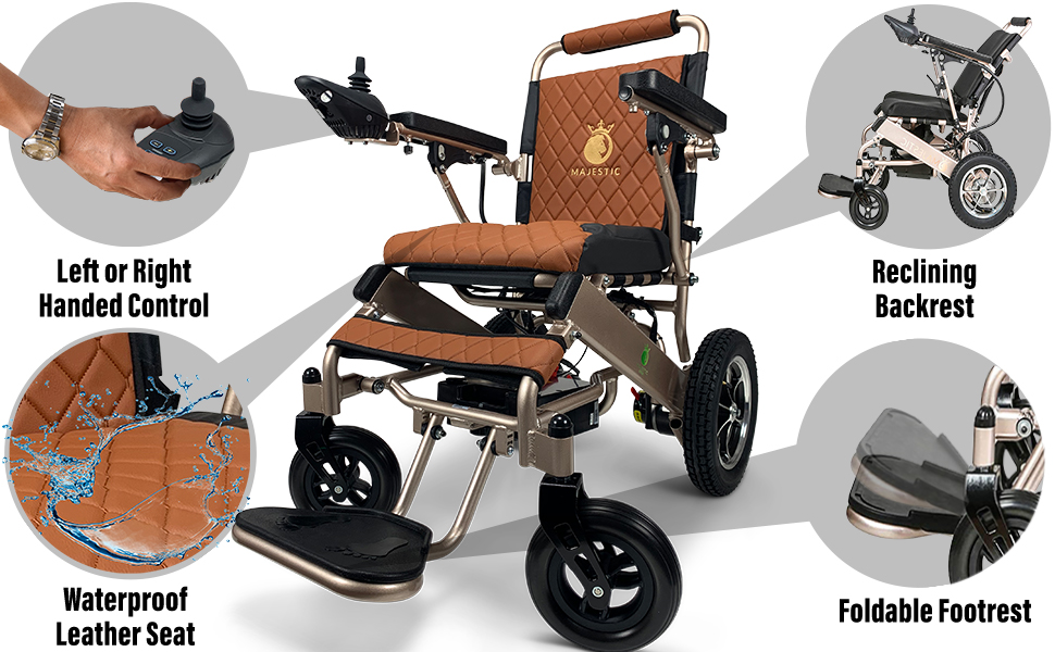 Electric Wheelchair for Adults, Portable All Terrain Lightweight Wheelchairs