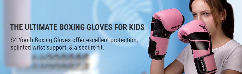 Youth Wearing S4 Kids Boxing Gloves Pink