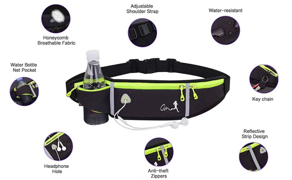 running belt with water bottle holder. waist pack