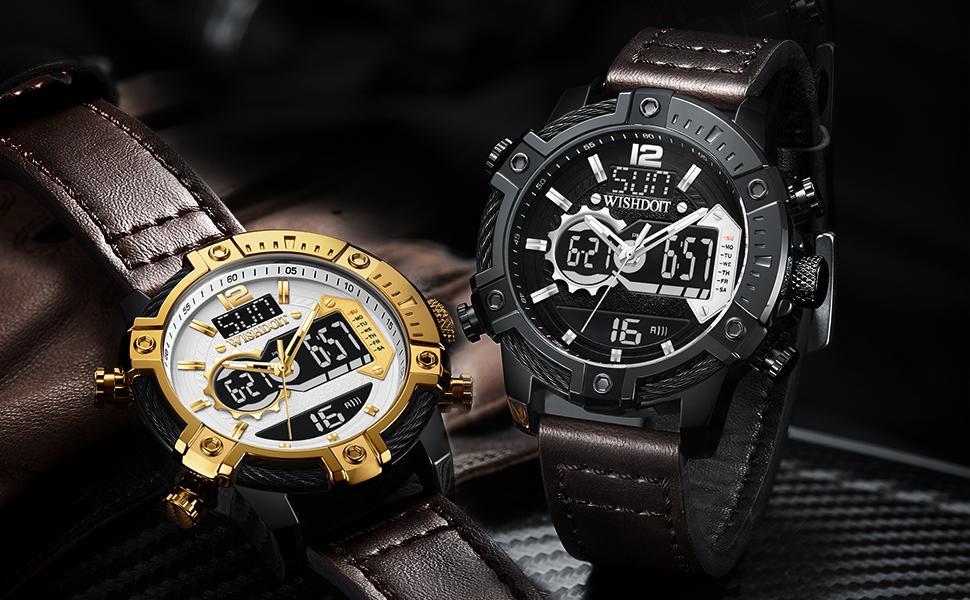 Outdoor sports leather strap quartz men's watch waterproof