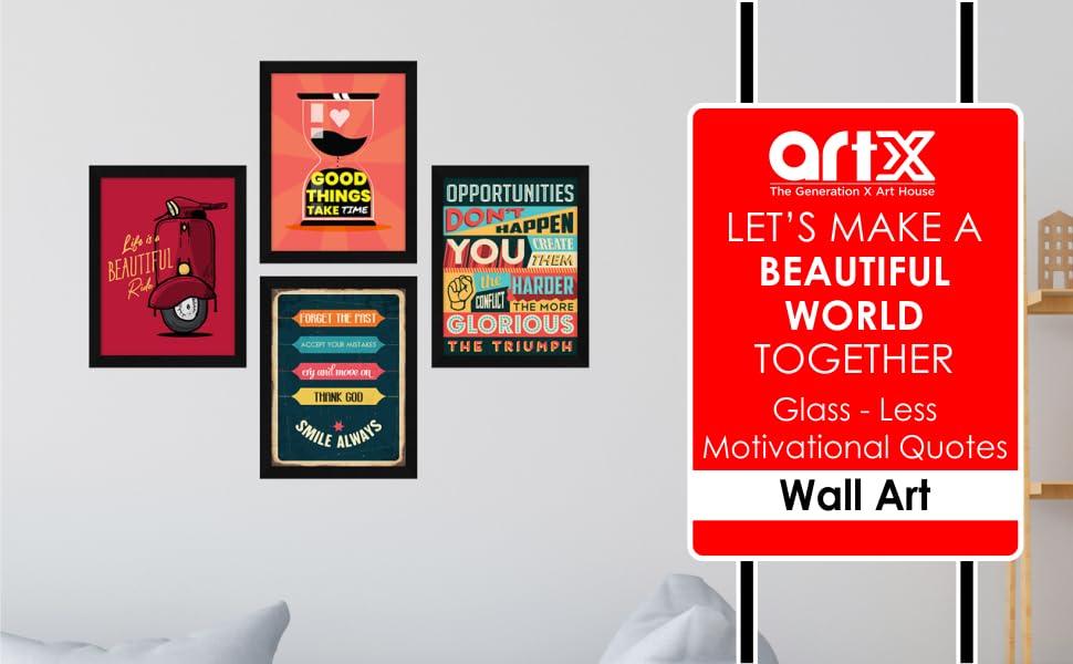 ArtX Glass Less Motivational Quotes Wall Art SPN-FOR1