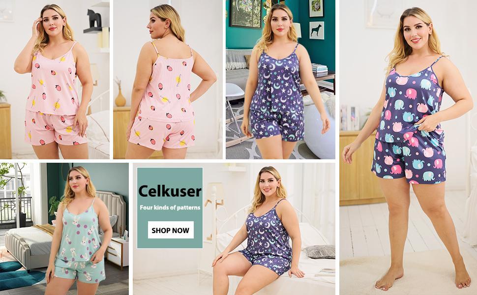 Sleeveless top and shorts, pink bunny print, blue star print,