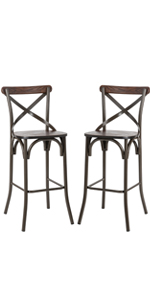 43.00amp;#34;H Rustic Steel Bar Stool with Solid Elm Wood Seat and Back Support, Set of 2