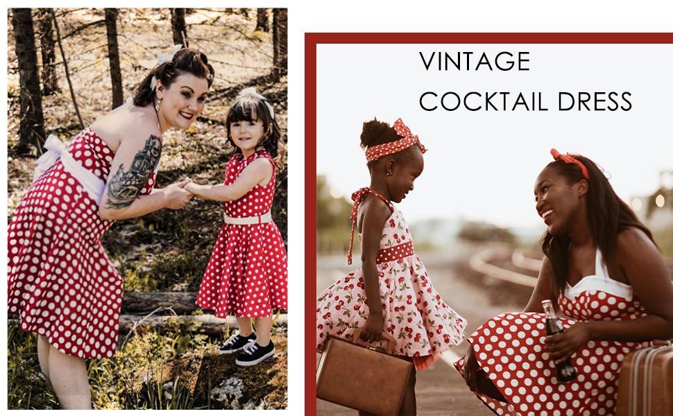 Women's Vintage Tea Dress Prom Swing Cocktail Party Dress